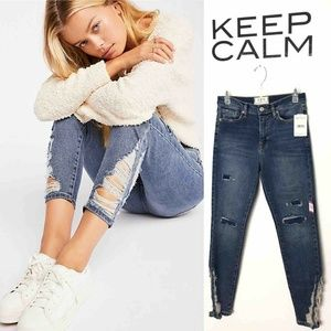 Free People About A Girl Skinny Jeans Indigo Blue